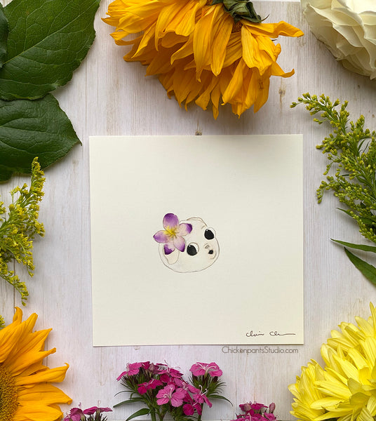 Flower Pug #2 - Violet -  Original Pug Art