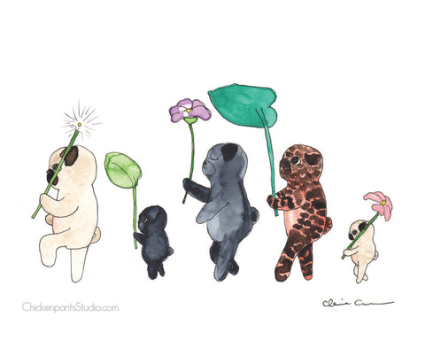 Forest March / Forest Parade -  Pug Art Print