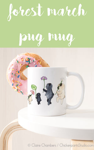Forest March / Forest Parade Pugs Mug