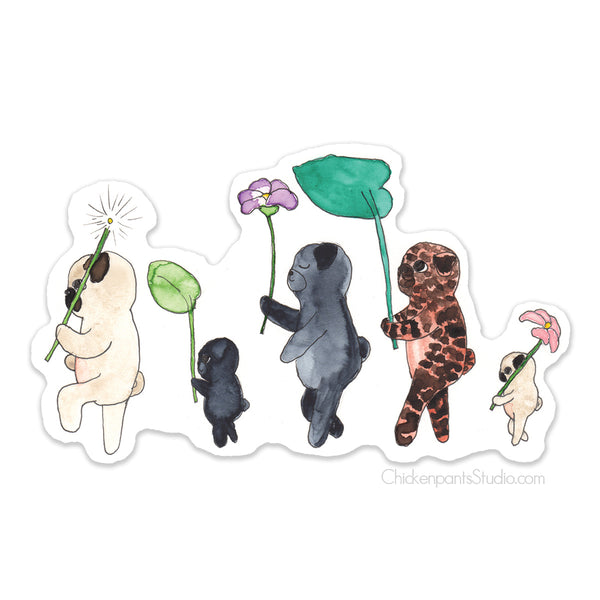 Forest Parade Pugs Vinyl Sticker