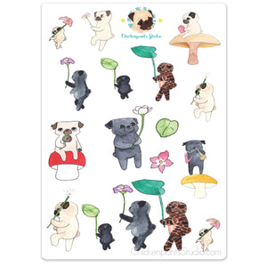 Forest Parade Pugs Sticker Sheet