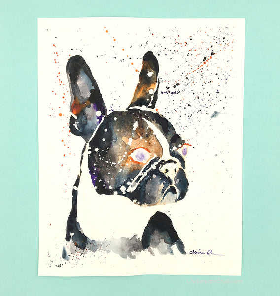 Galaxy French Bulldog -  Original Watercolor Painting