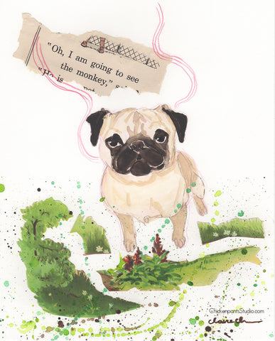 Oh, I Am Going To See The Monkey -  Original Pug Mixed Media Painting