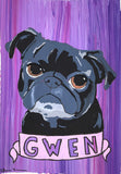 Vegas Pug Party Exclusive! Custom Sketch Portrait - Tiny Paws Pug Rescue Fundraiser