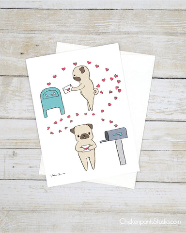 Happy Mail - Pug Greeting Card