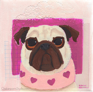 Heart Scarf -  Original Pug Painting