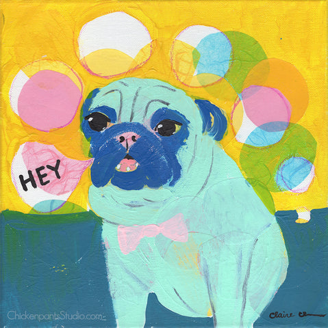 Hey - Original Pug Painting