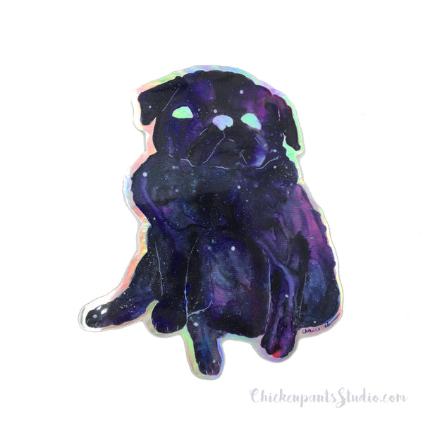 Galaxy Pug Holographic Sticker