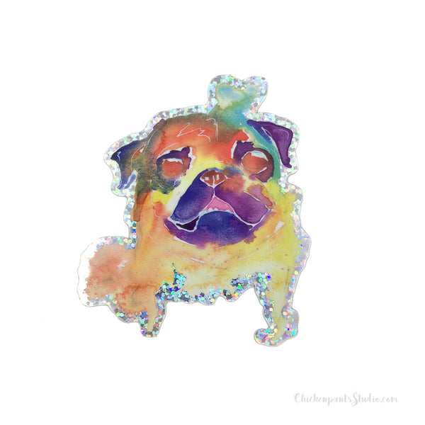 Holographic Watercolor Pug Vinyl Sticker
