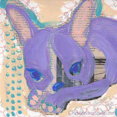 Lilac  -  Original Mixed Media Boston Terrier Painting