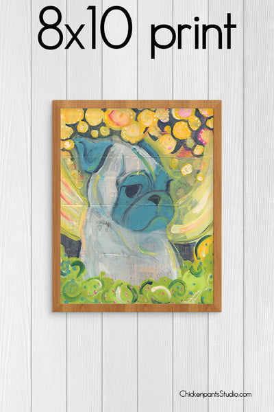 Midnight -  Pug Art Print