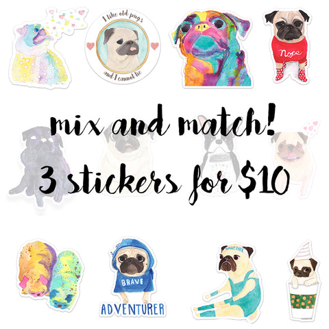 3 Stickers For $10 - Create your own sticker set!