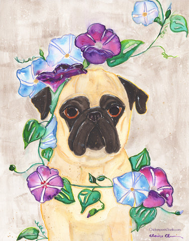 Morning Glory - Original Pug Painting