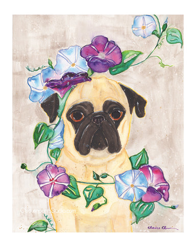 Morning Glory -  Pug Art Print