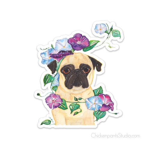 Morning Glory - Pug Vinyl Sticker