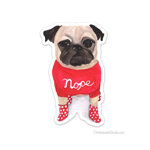 Nope Pug Vinyl Sticker