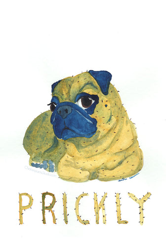 Prickly Pug -  Original Watercolor Painting