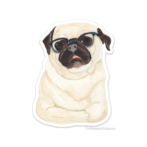 Pug With Glasses - Vinyl Sticker