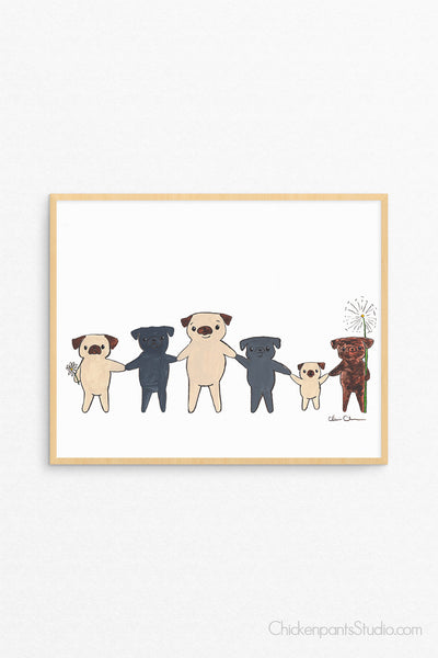 Together -  Pug Art Print