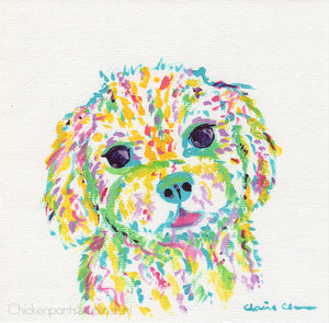Fluffy Rainbow Sweetheart -  Original Poodle Painting