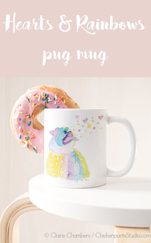 Hearts and Rainbows Pug Mug