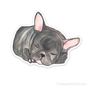 Sleeping French Bulldog Vinyl Sticker