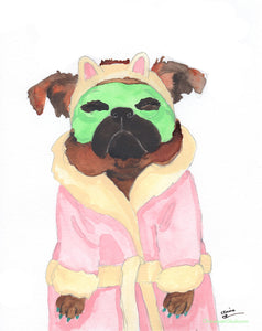 Spa Day -  Original Brussels Griffon Watercolor Painting