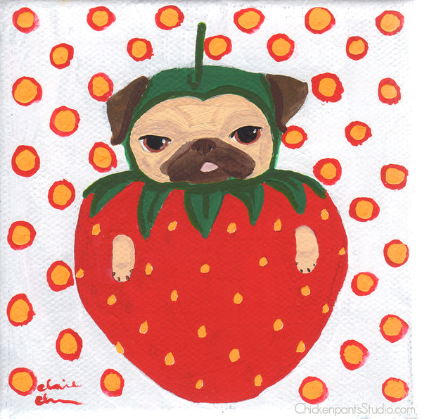 Strawberry Pug Original Painting