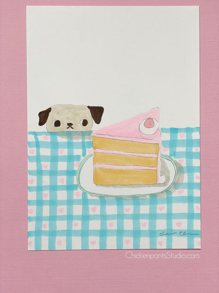 Strawberry Slice Pug - Original Pug Art