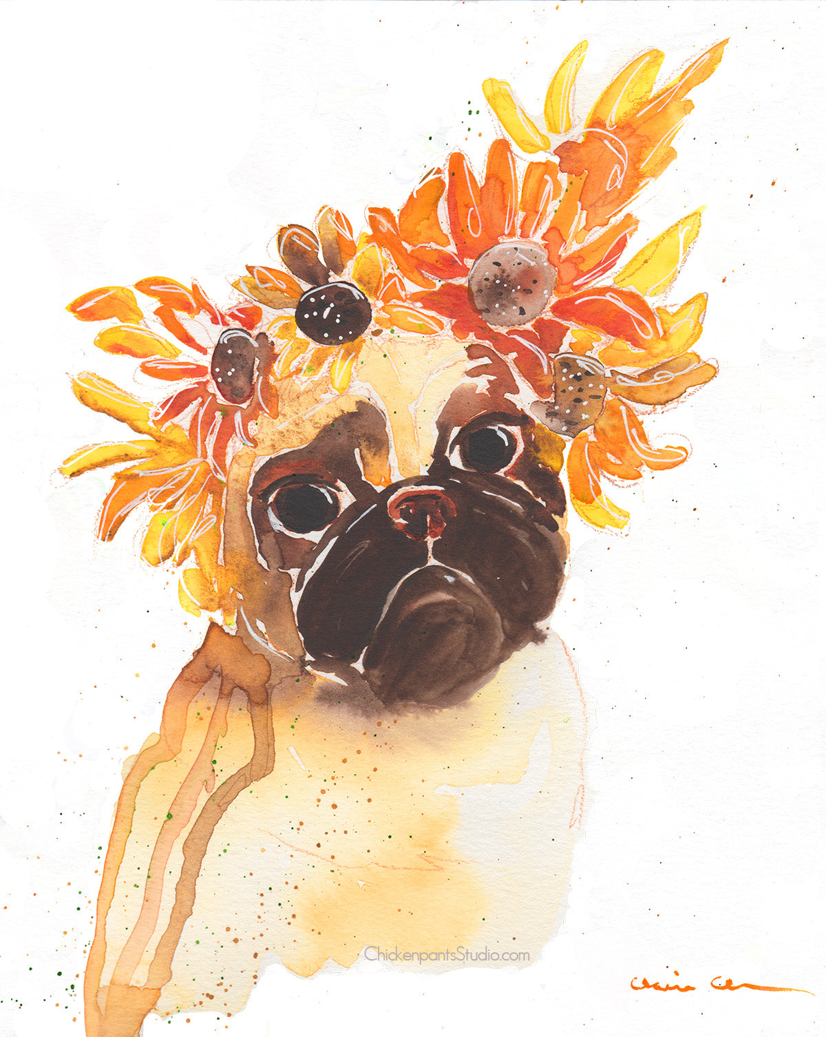 Sunflower Pug -  Original Painting