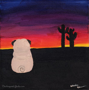 Sonoran Sunset Pug -  Pug Art Print