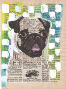 The Know It All  -  Original Watercolor Pug Painting