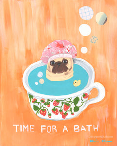 Time For A Bath -  Original Pug Mixed Media Painting