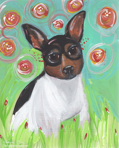 Original Toy Fox Terrier Painting - In The Garden