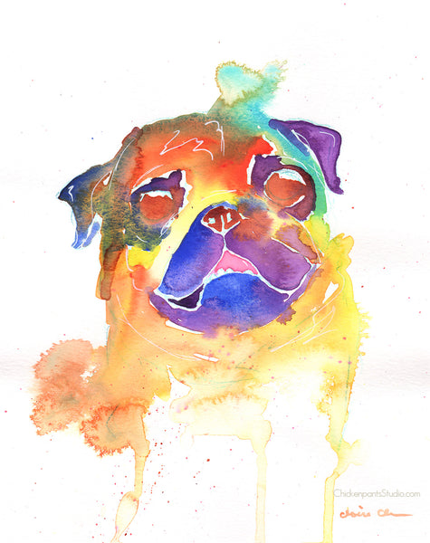 Rainbow Pug Study #1 -  Original Pug Watercolor Painting