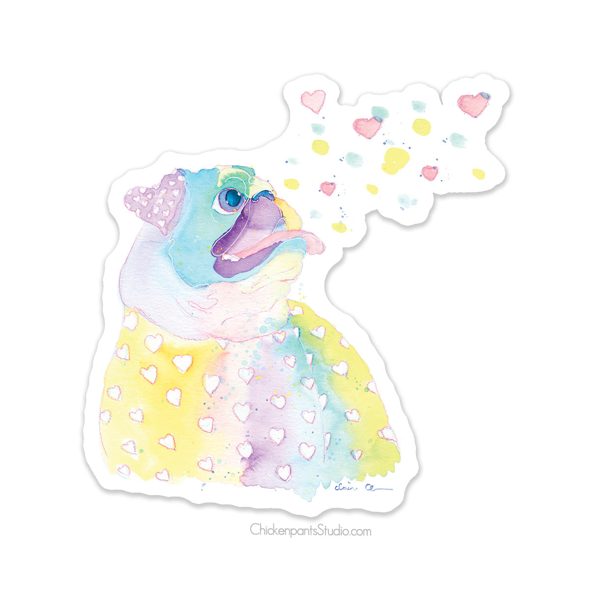 Pastel Rainbow Pug Vinyl Sticker