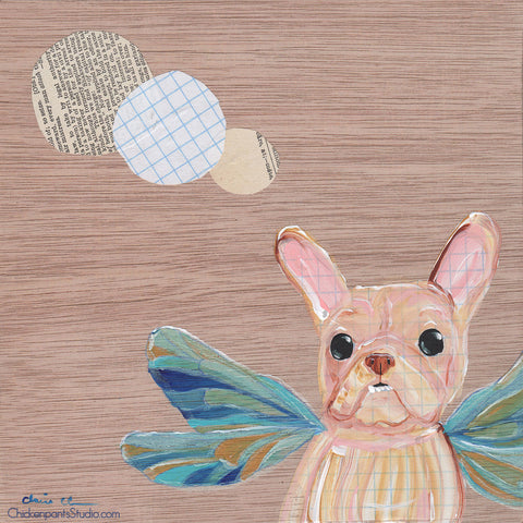 Flying Frenchie -  Original French Bulldog Painting