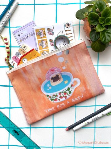 Time For A Bath Pug Zipper Pouch