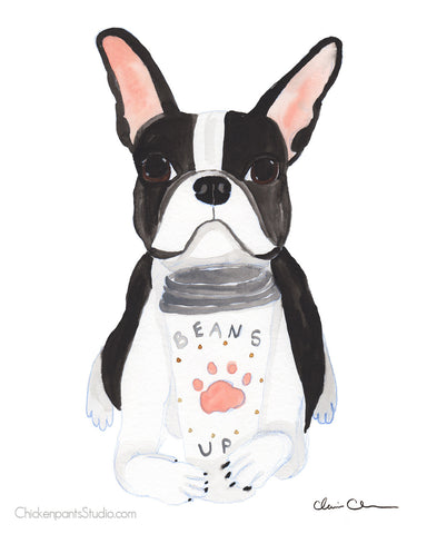 Beans Up Coffee - Boston Terrier Art Print
