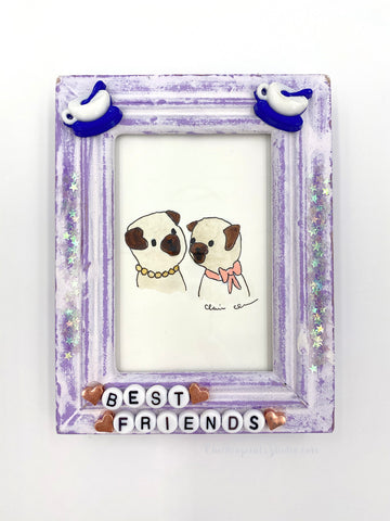 Best Friends -  No. 1 of 12 Summer Miniature Paintings - Original Framed Pug Art