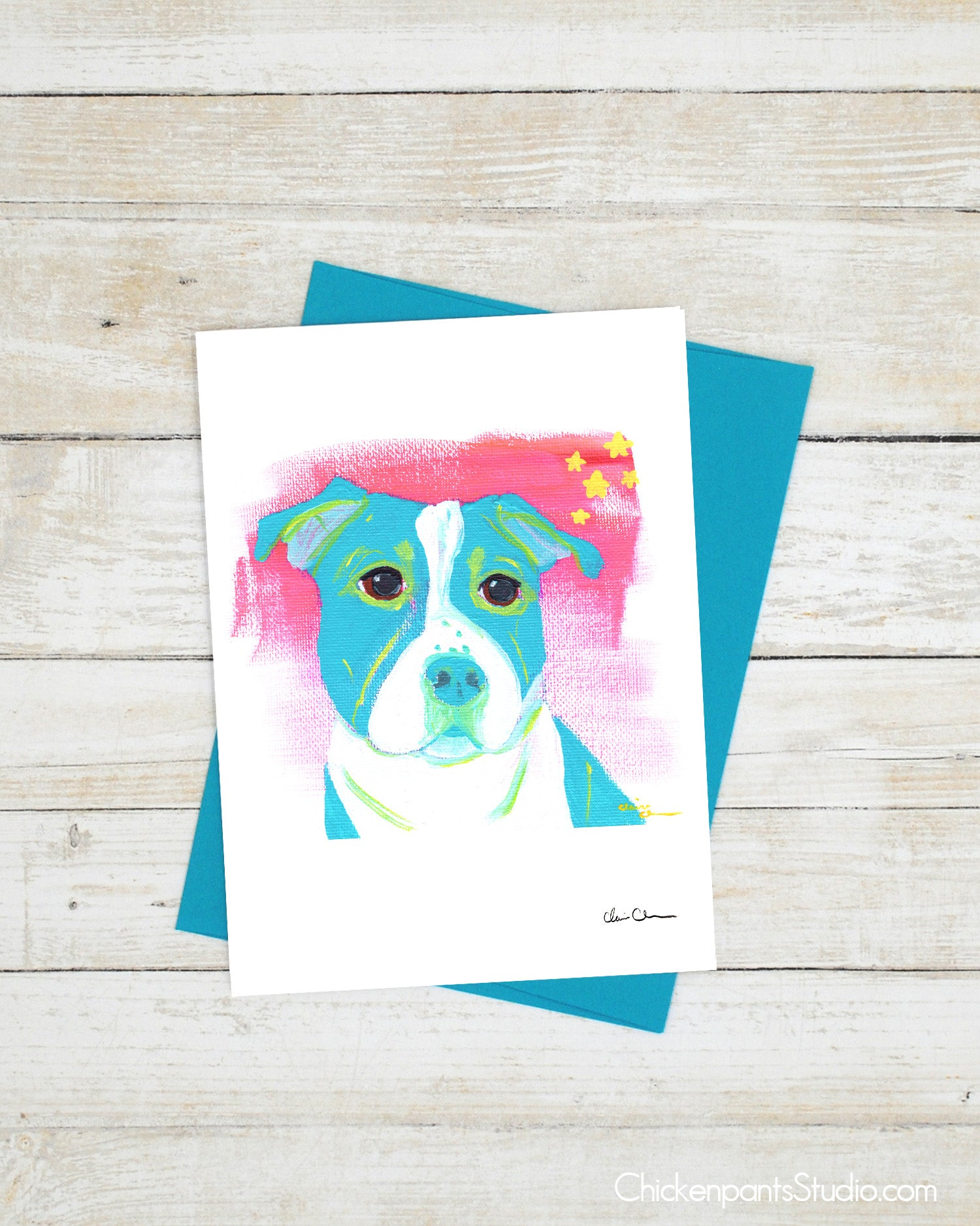 Turquoise Blue Dog Greeting Card