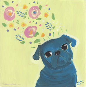 Spring On My Mind - Original Pug Painting