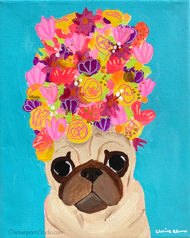 Bouquet - Original Pug Painting