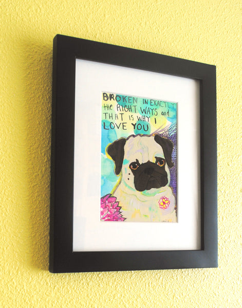 Broken - Original Framed Pug Art