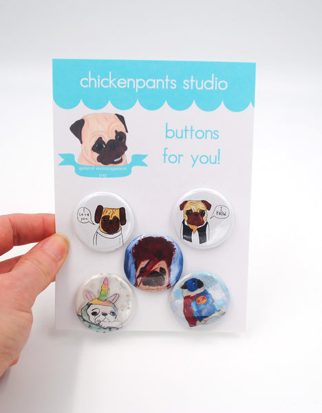 Costumed Pugs - Button Set 3