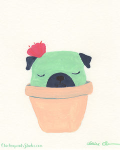 Sleepy Succulent Pug - Original Pug Painting