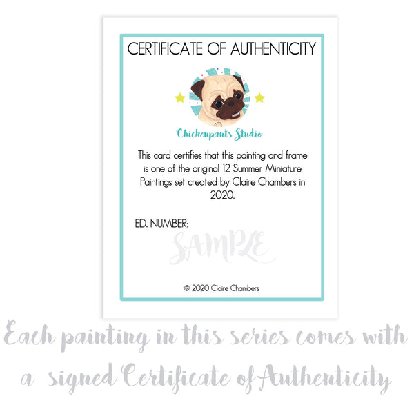 My Pet -  No. 2 of 12 Summer Miniature Paintings - Original Framed Pug Art