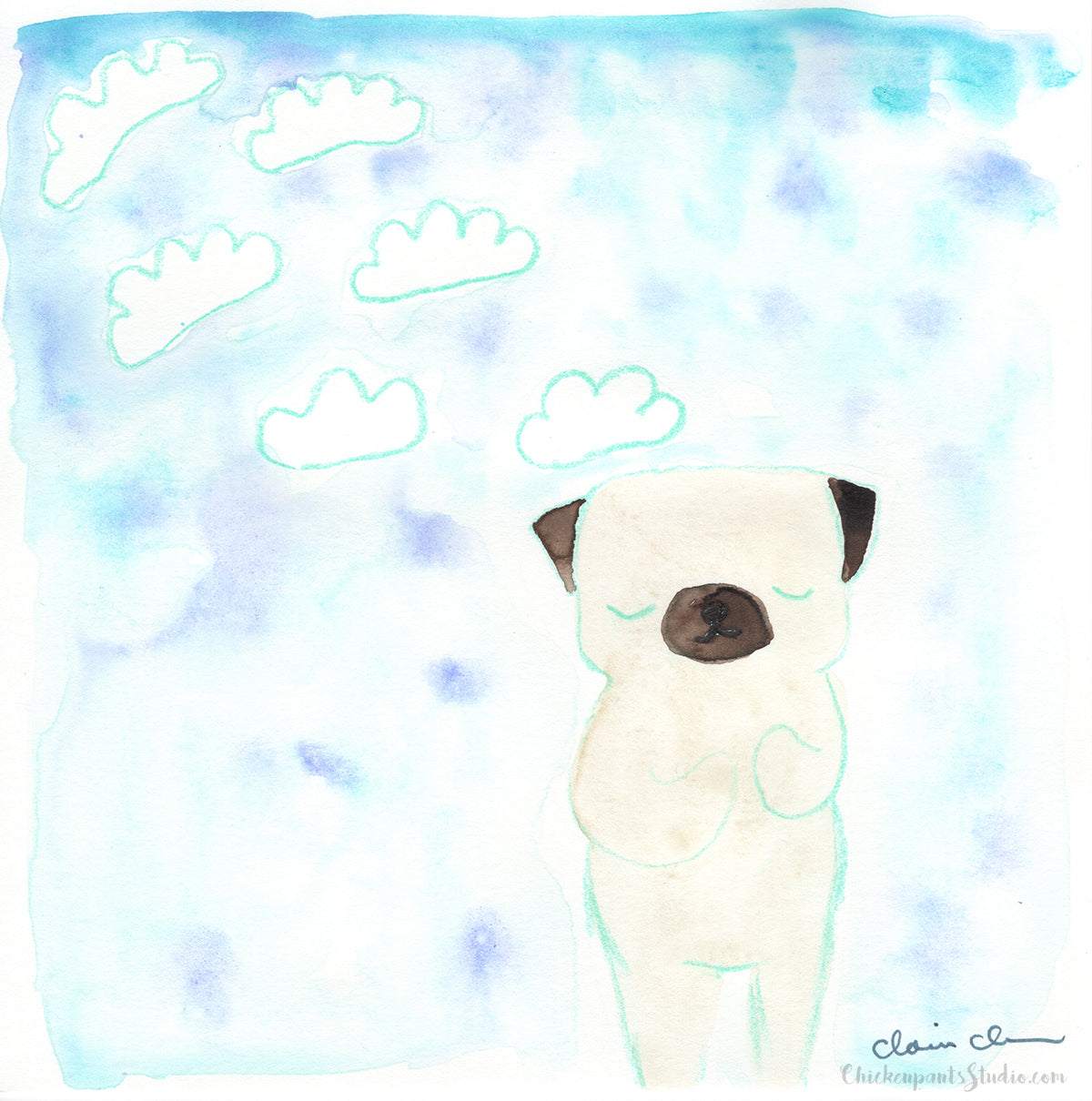 Wish -  Original Pug Painting