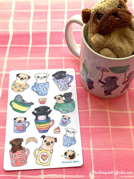 Coffee Cup Pugs Sticker Sheet