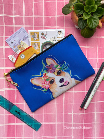 Flower Crown Corgi Zipper Pouch